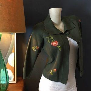 Vintage Embroidered Green Crop Sweater Jacket M